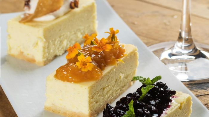 Cheesecake Three Ways: Brie, Cheddar, Blue Cheese