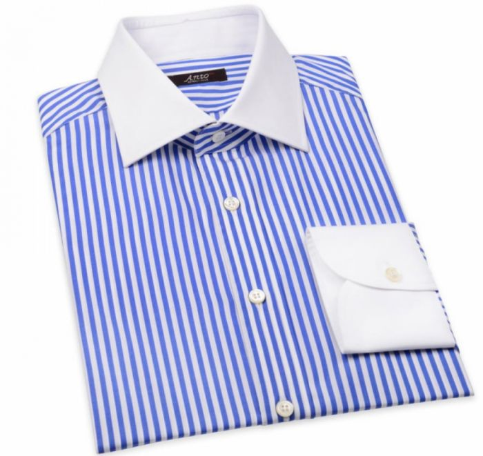 Blue Poplin Bengal Stripe Dress Shirt with White Collar