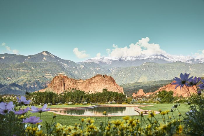 Views of Garden of the Gods and Pikes Peak from the pro