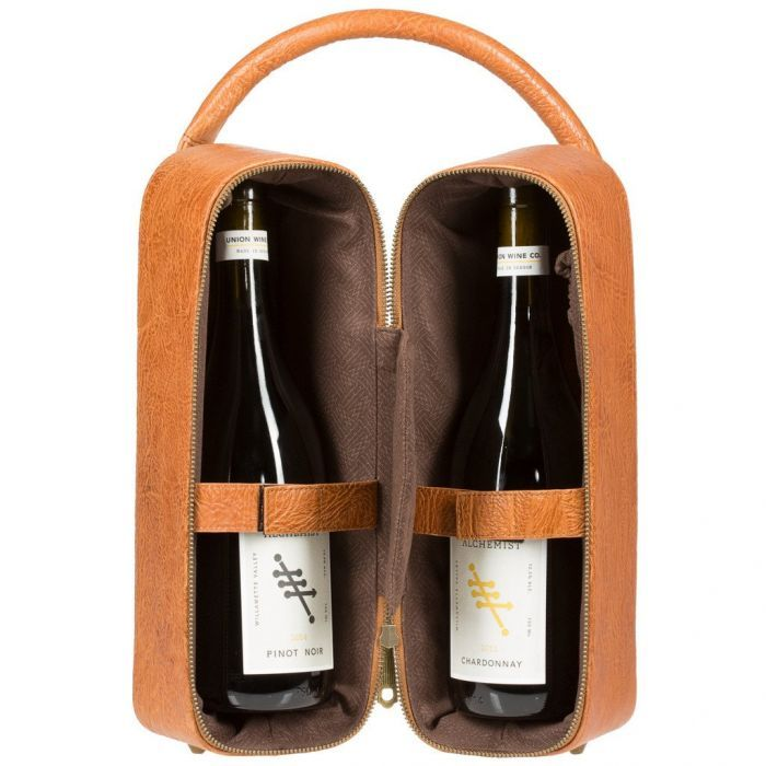 Double Leather Wine Zip Case