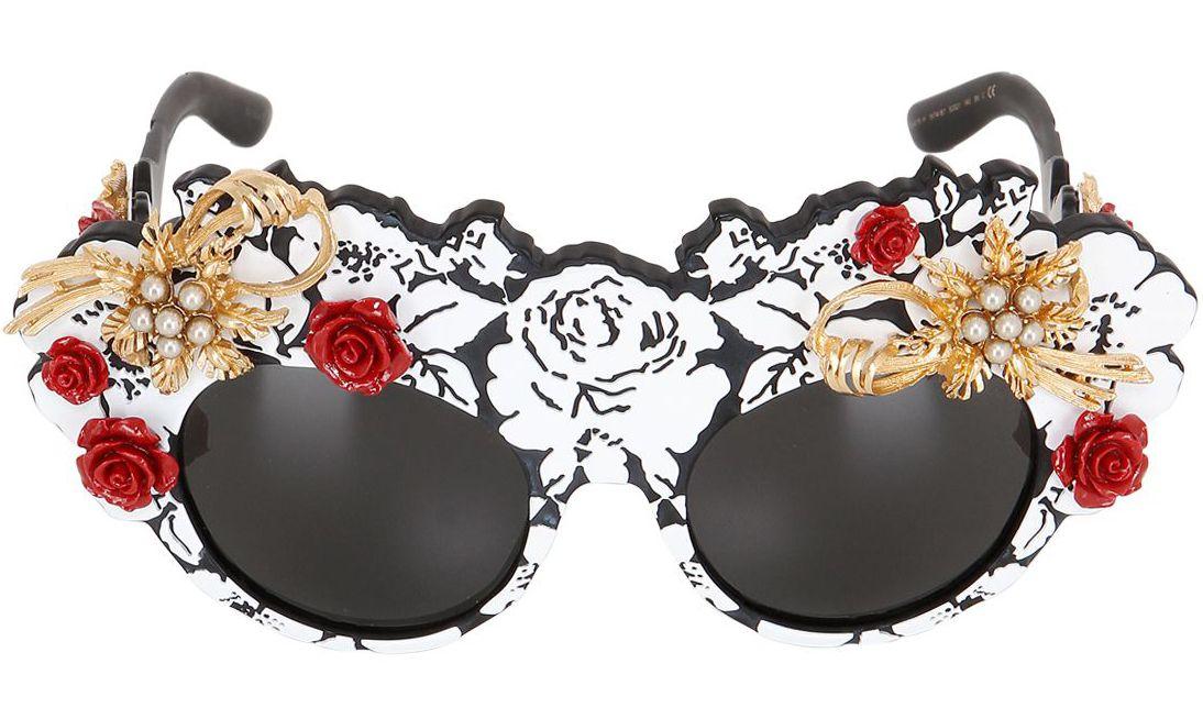 Dolce & Gabbana Mama's Embellished Brocade Sunglasses
