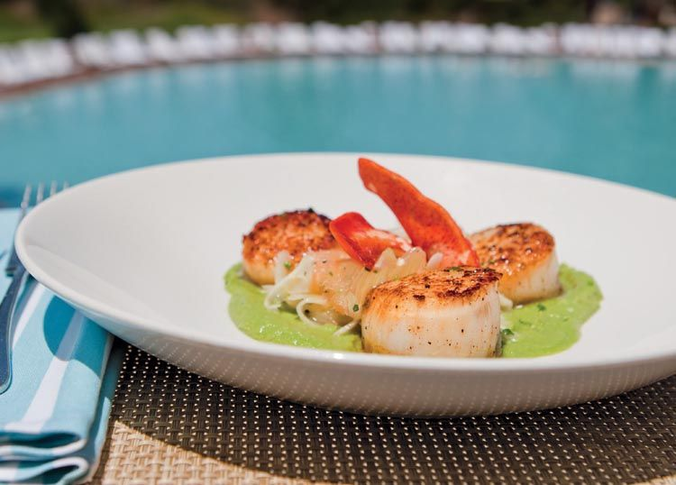 """Diving Scallops"""" in English Pea Purée with Lobster Recipe"""