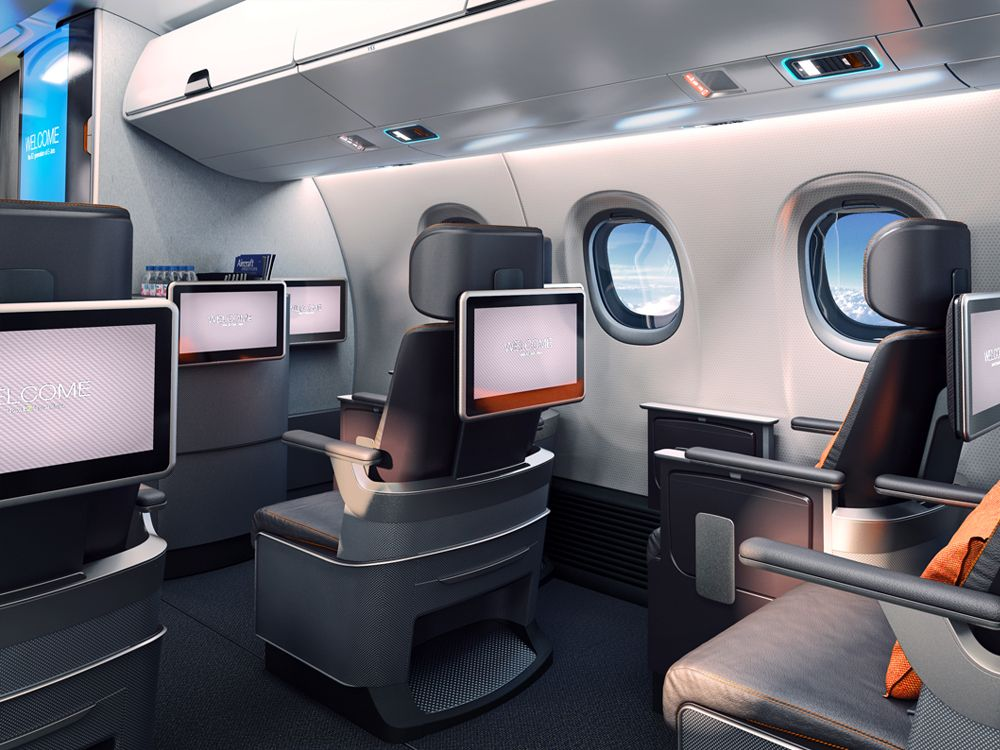 E2 aircraft design gives more space allows fliers to for Aircraft interior designs