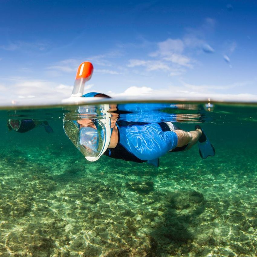 The Easybreath Snorkeling Mask in use