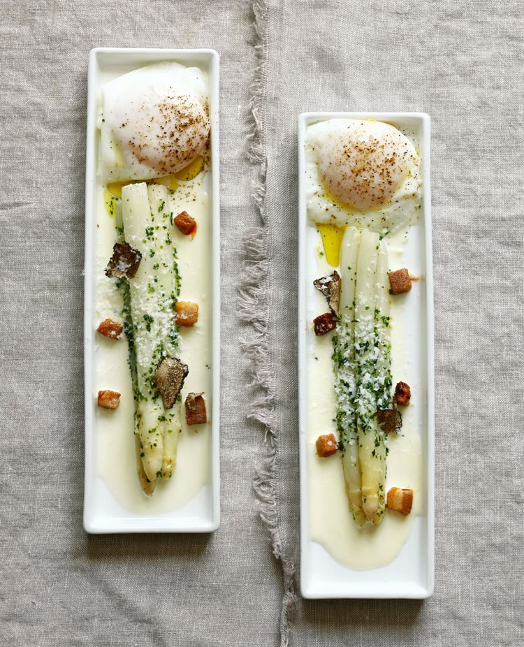 White Asparagus with Black Truffle and Egg