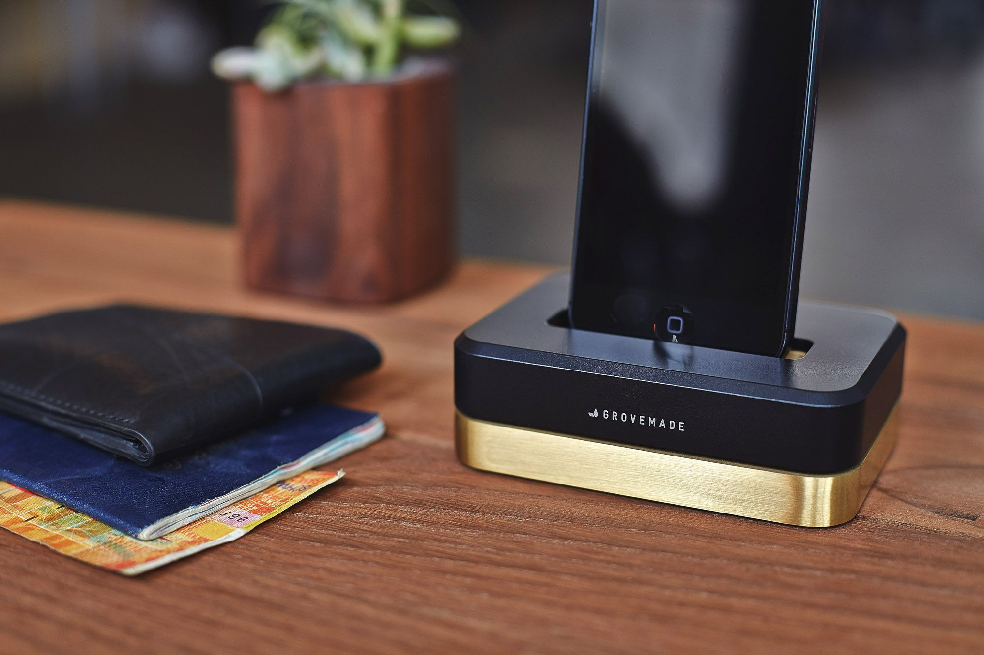 grovemade brass iphone dock