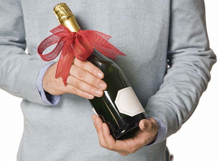 Man with champagne gift