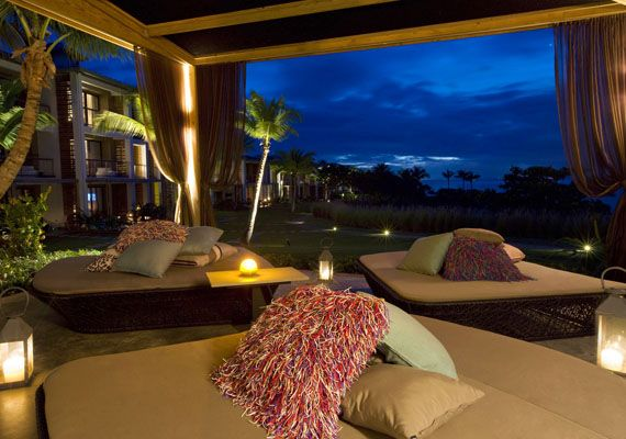 W Retreat Living Room Deck Night