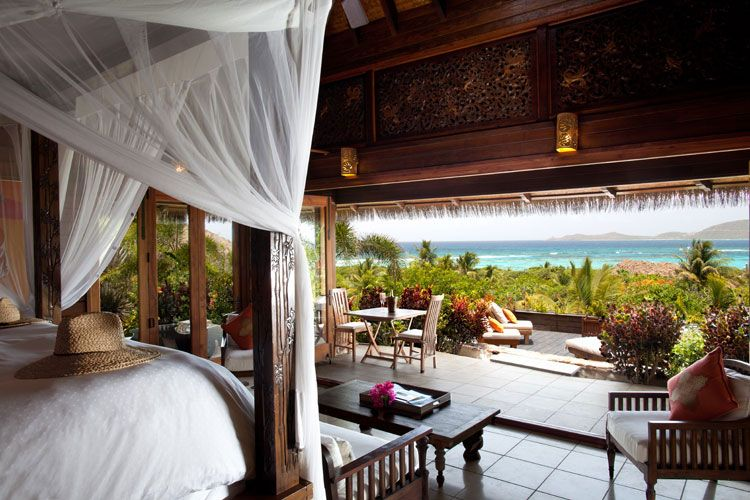 guestroom at the great house necker island