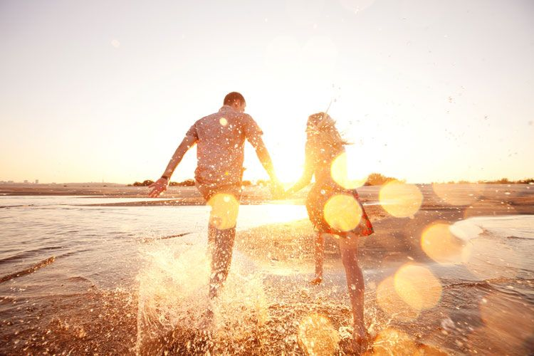 happy couple beach