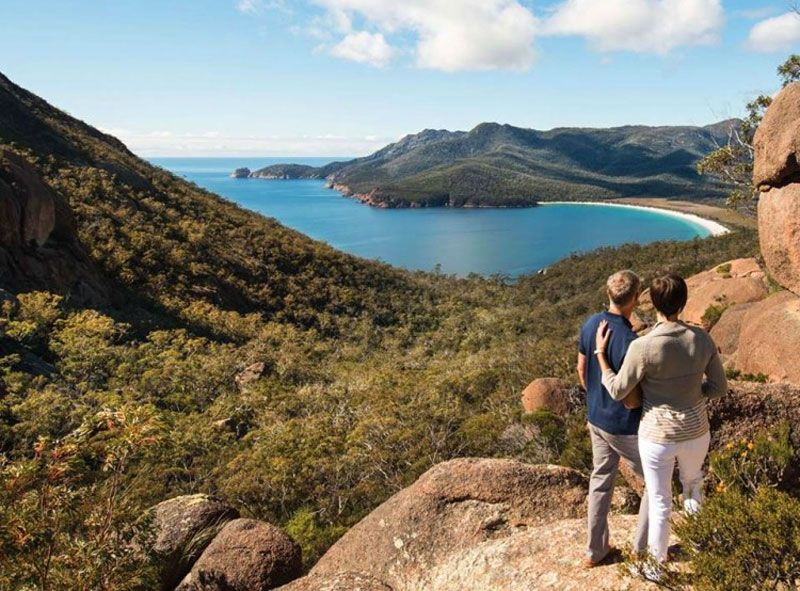 Hiking up for views of stunning Wineglass Bay.