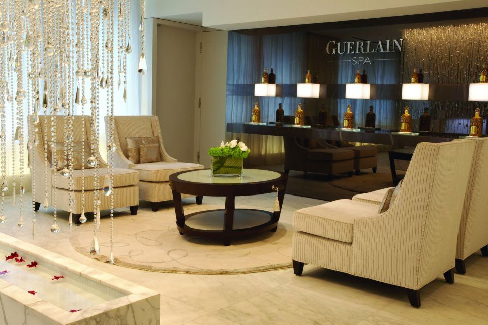 Guerlain Spa Lobby with Baccarat Crystal Curtain