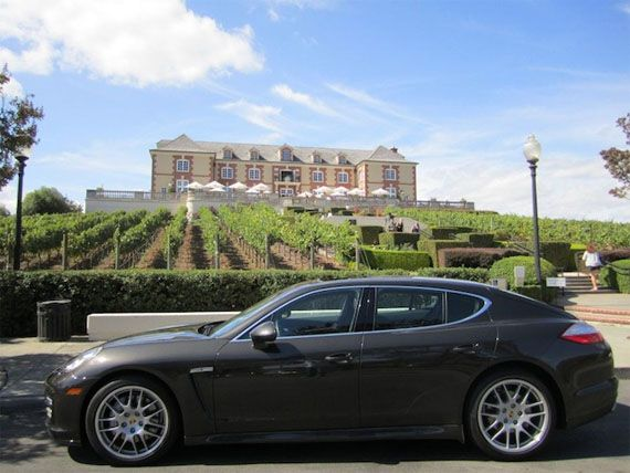 The Porsche Panamera S in front of Domaine Carneros.