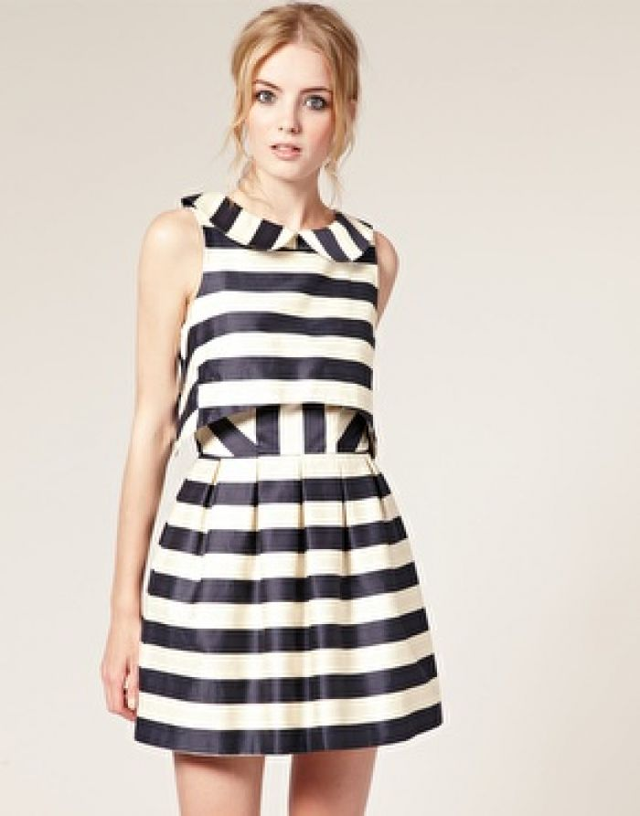 Peter Pan Dress in Stripe Print