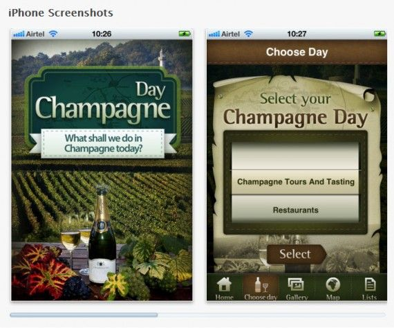Screenshots of the Champagne Day Mobile App (Apple Store)