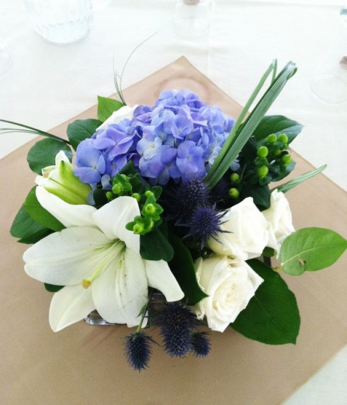 Event arrangement centerpiece - Blue Hydrangea White Lilies