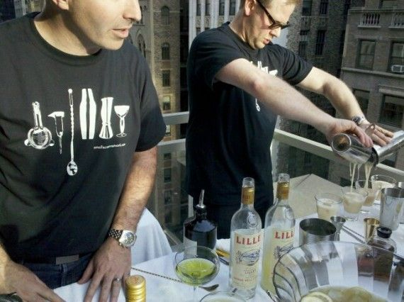Small Screen Network team mixing up Snake Bite cocktails