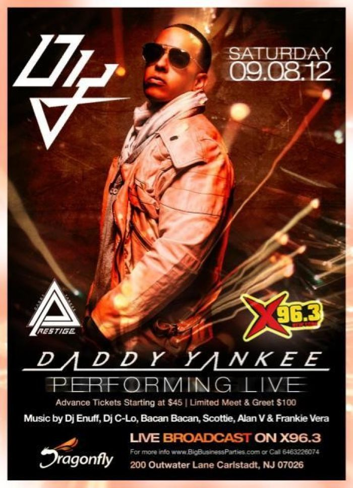 DADDY YANKEE Performing Live Saturday Sept 8th @ DRAGONFLY NJ