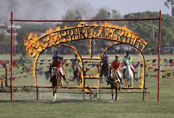 Horses crossing in fire