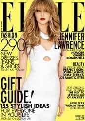 Jennifer Lawrence on cover of Dec. 2012 Elle magazine