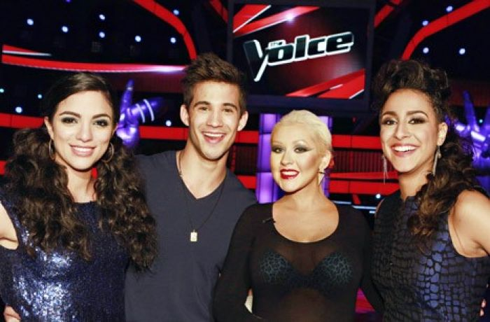 Christina Aguilera, her bra and some other people I can't see d