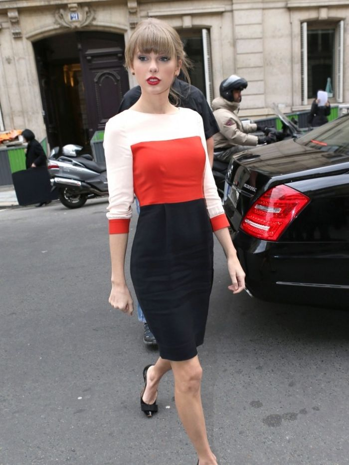 Taylor Swift in Paris wearing color-block dress