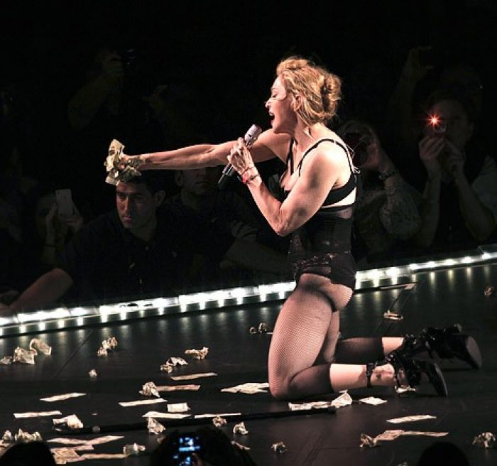 Madonna onstage in New York