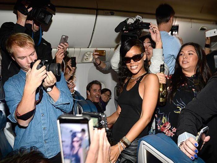 Rihanna on the 777 plane