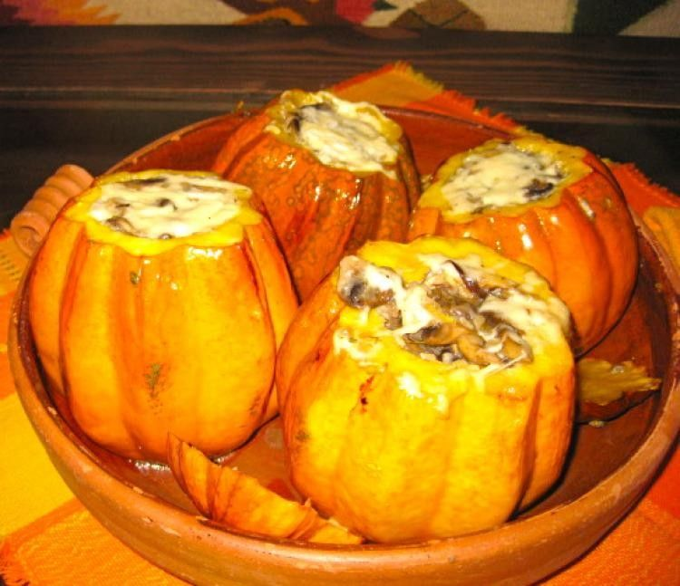 Fire-Roasted Acorn Squash Filled with Wild Mushroom Risotto and