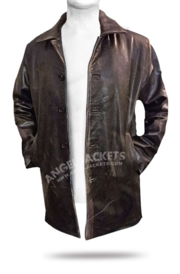 Supernatural Distressed Leather Jacket Coat