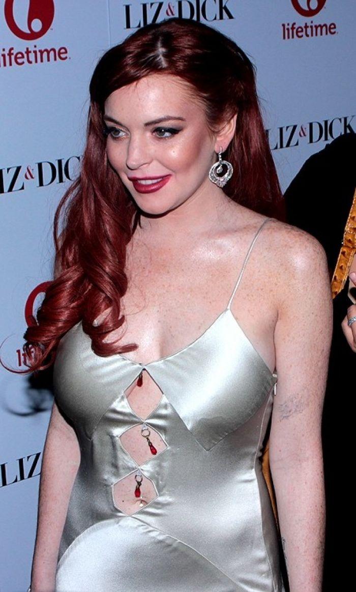 Lindsay Lohan in terrible dress