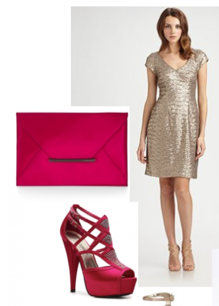 Theia Sequined Dress and Shoes