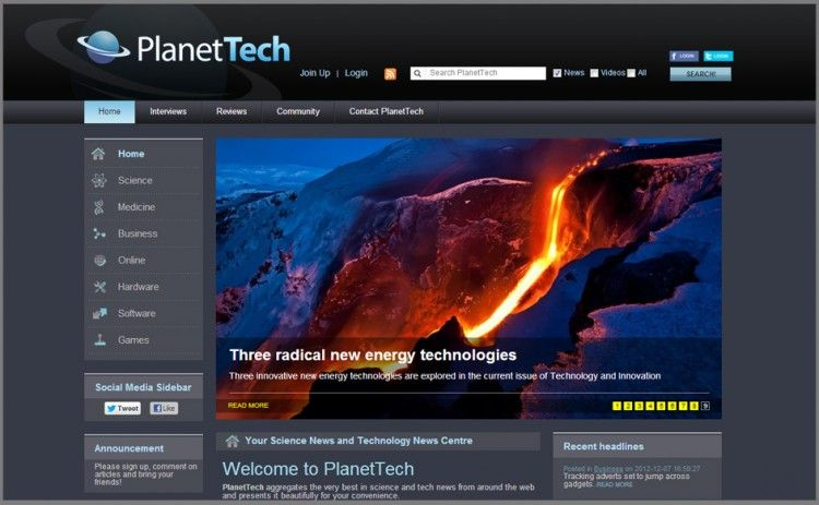 The PlanetTech News Website Homepage