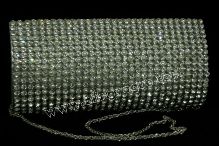 Silver Pearl Clutch For Brides
