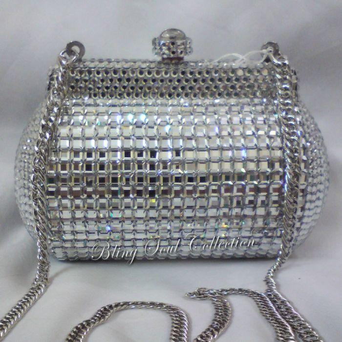 Silver Mirror Clutch For Brides
