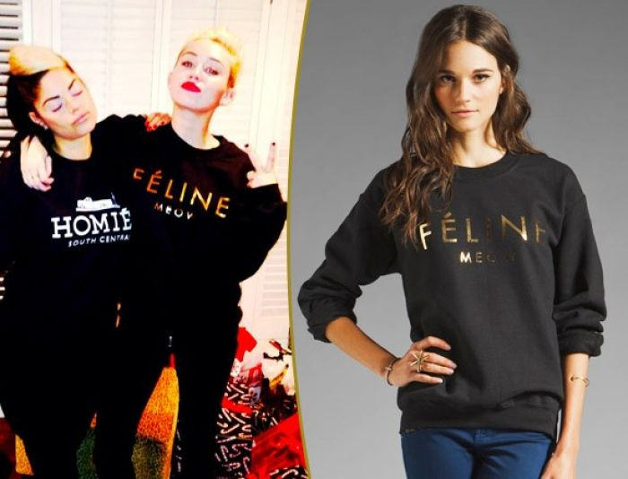 Miley Cyrus rocking Feline sweatshirt