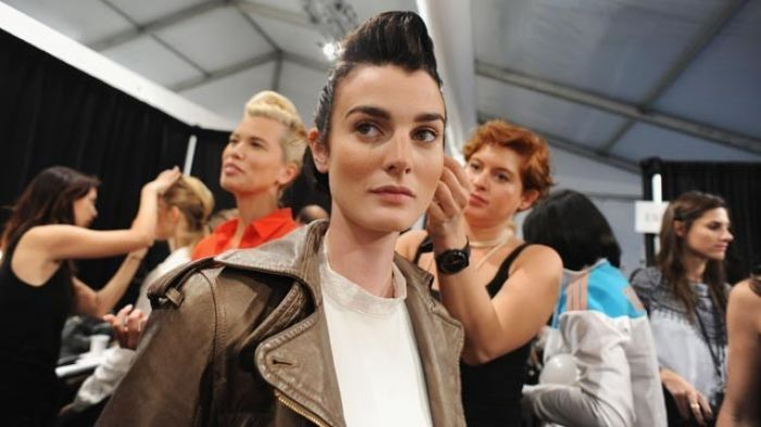 Models backstage fashion week