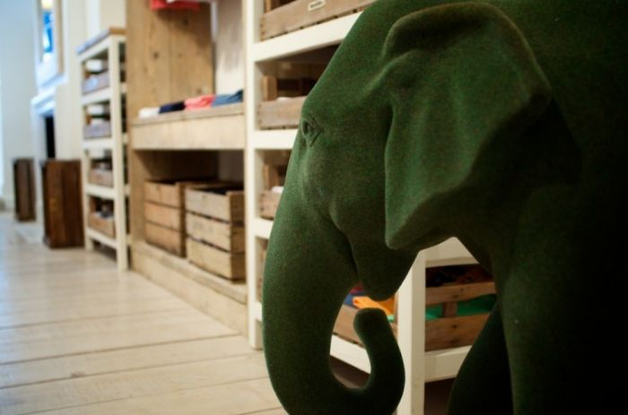 Baby elephant mascot 'Tara' at Love Brand & Co. Flagship Boutiq