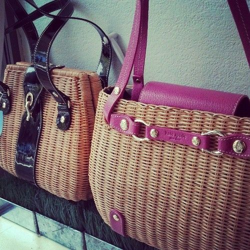 Kate Spade wicker basket purses at a consignment store