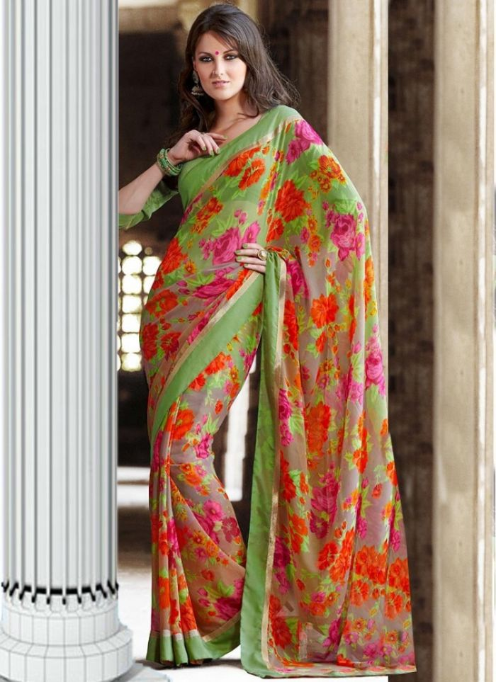 Green Printed Faux Georgette Saree