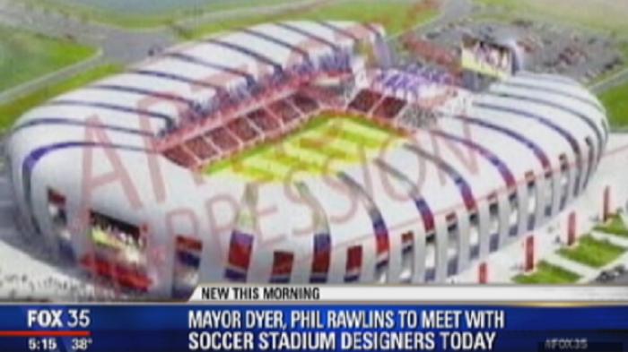 Artist's rendering of new Orlando MLS stadium