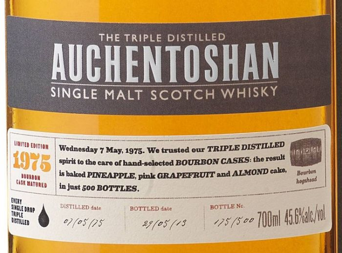 Auchentoshan Releases 1975 Vintage Single Malt Scotch Whisky