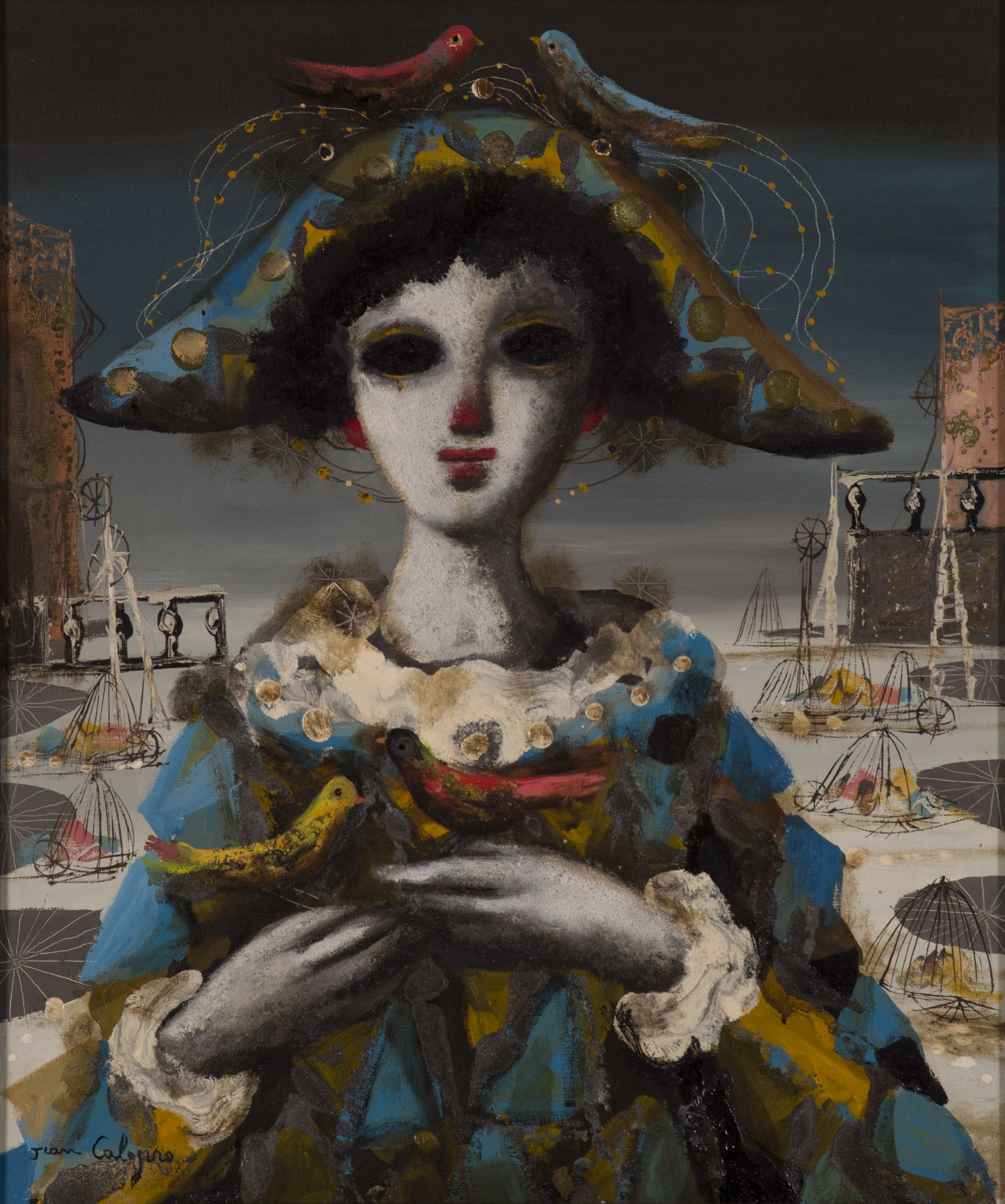 Jean Calogero, clown with canary