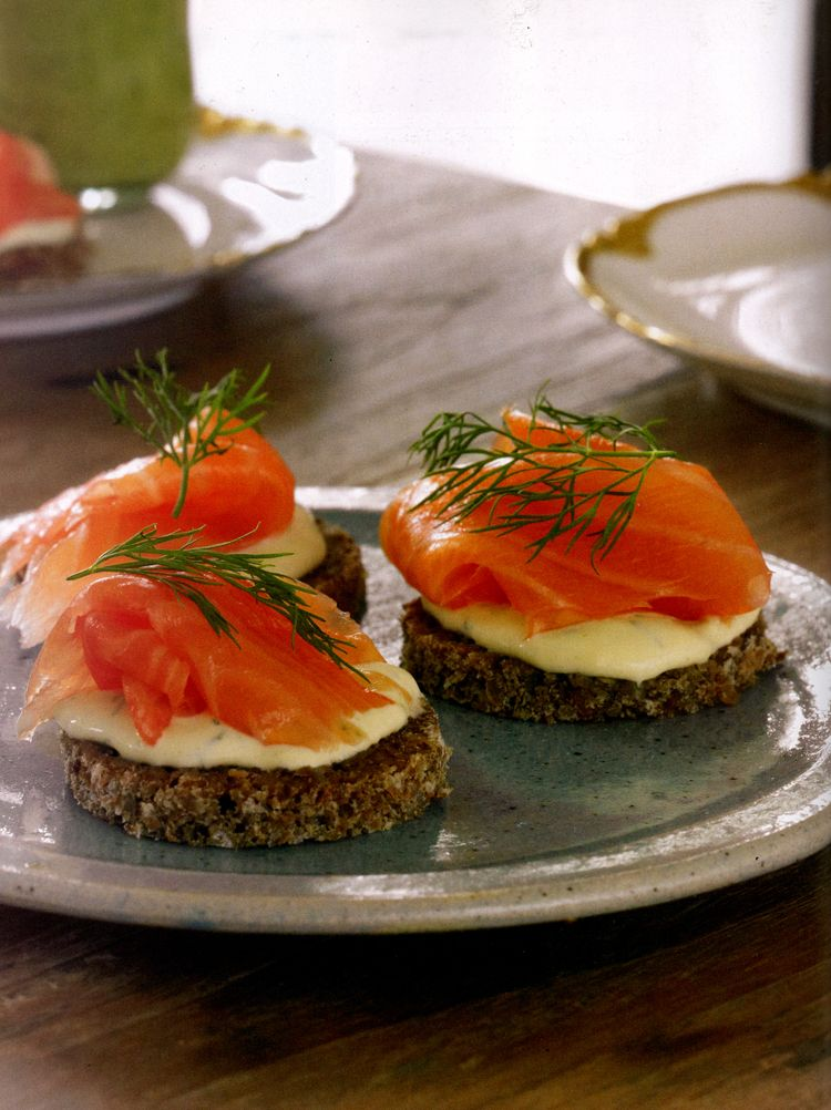 Smoked salmon canap s with dijon cr me fraiche recipe for Salmon canape ideas