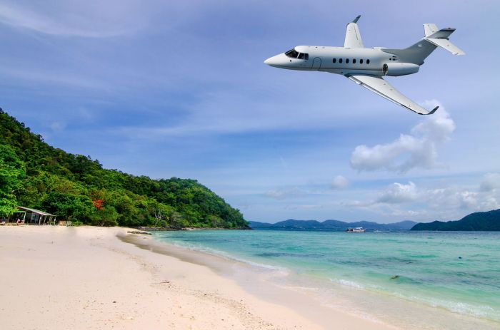private jet landing island