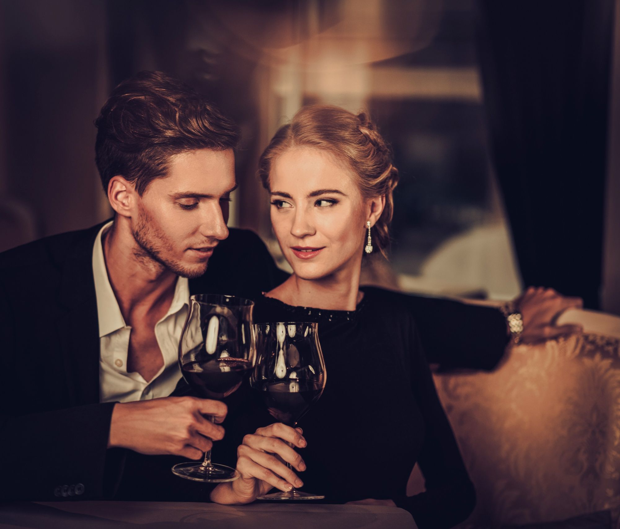 wine, young couple