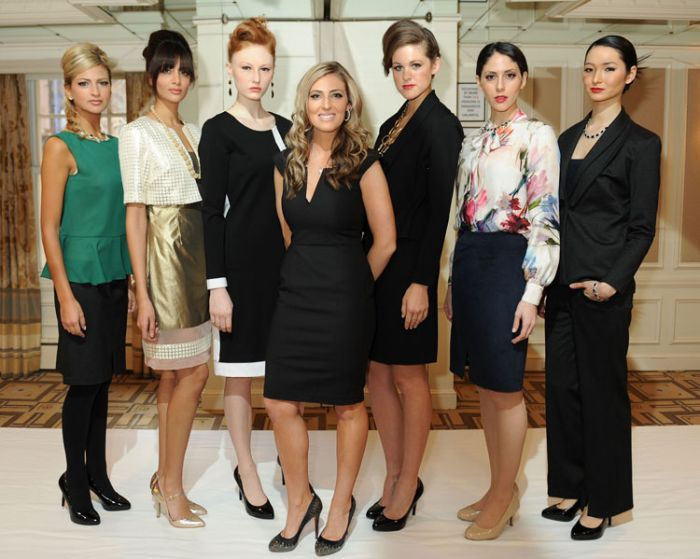 Designer Stephanie Riley with models.