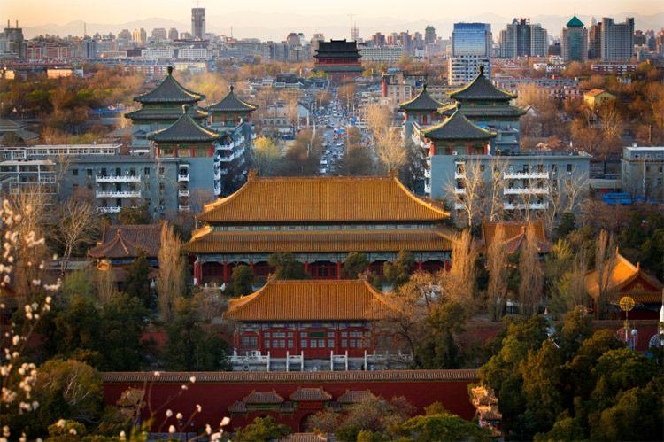 Jinshang Park Looking North at Drum Tower Beijing