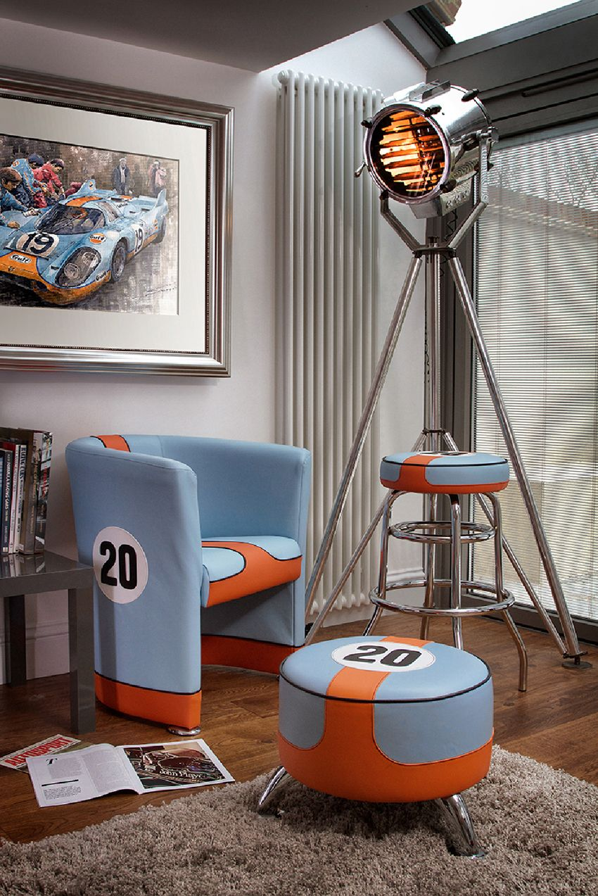 steve mcqueen le mans gulf racing footstool