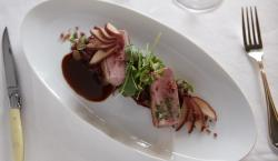 Get Started On Holiday Recipes With This Pan Roasted Duck Breast With Red Wine Poached Apples